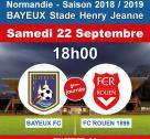 Affiche rencontre Bayeux - Rouen en football