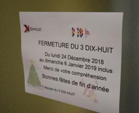 Affiche fermeture du 3 DIX-HUIT à Bayeux
