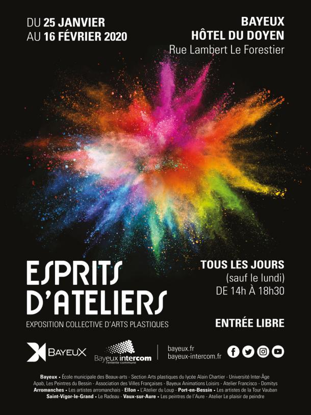 Affiche de l'exposition collective Esprits d'ateliers à Bayeux