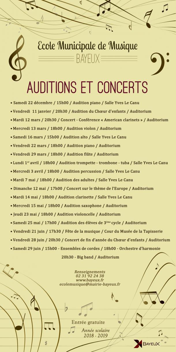 Planning des auditions de l'école de musique de Bayeux 2019
