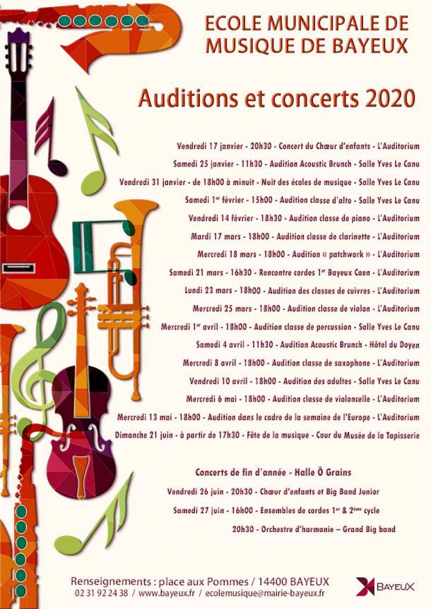 Calendrier des auditions de l'école municipale de musique de Bayeux