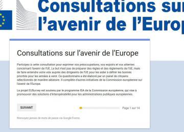 Capture d'écran consultations européennes