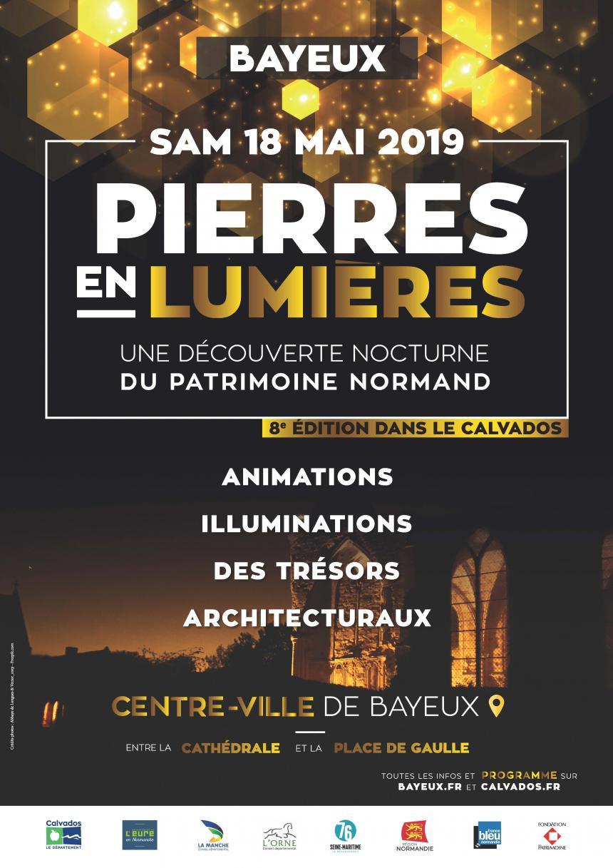 Affiche Pierres en lumière 2019 à Bayeux