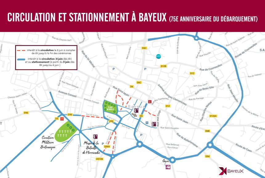 Plan de la circulation le 6 juin 2019 à Bayeux