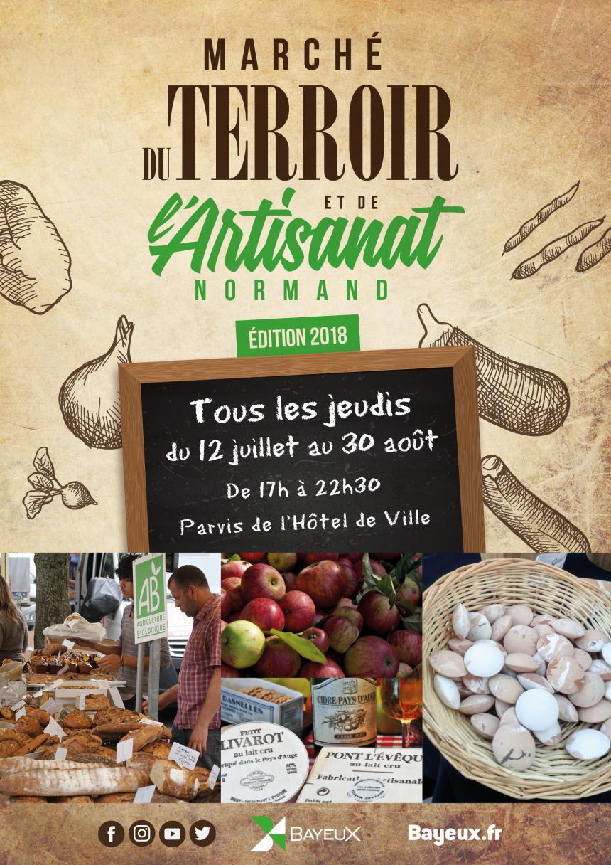 Affiche marché du terroir et de l'artisanat normand à Bayeux