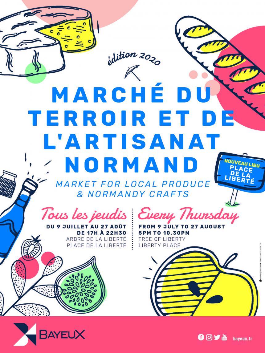 Affiche 2020 des marchés du terroir et de l'artisanat normand à Bayeux