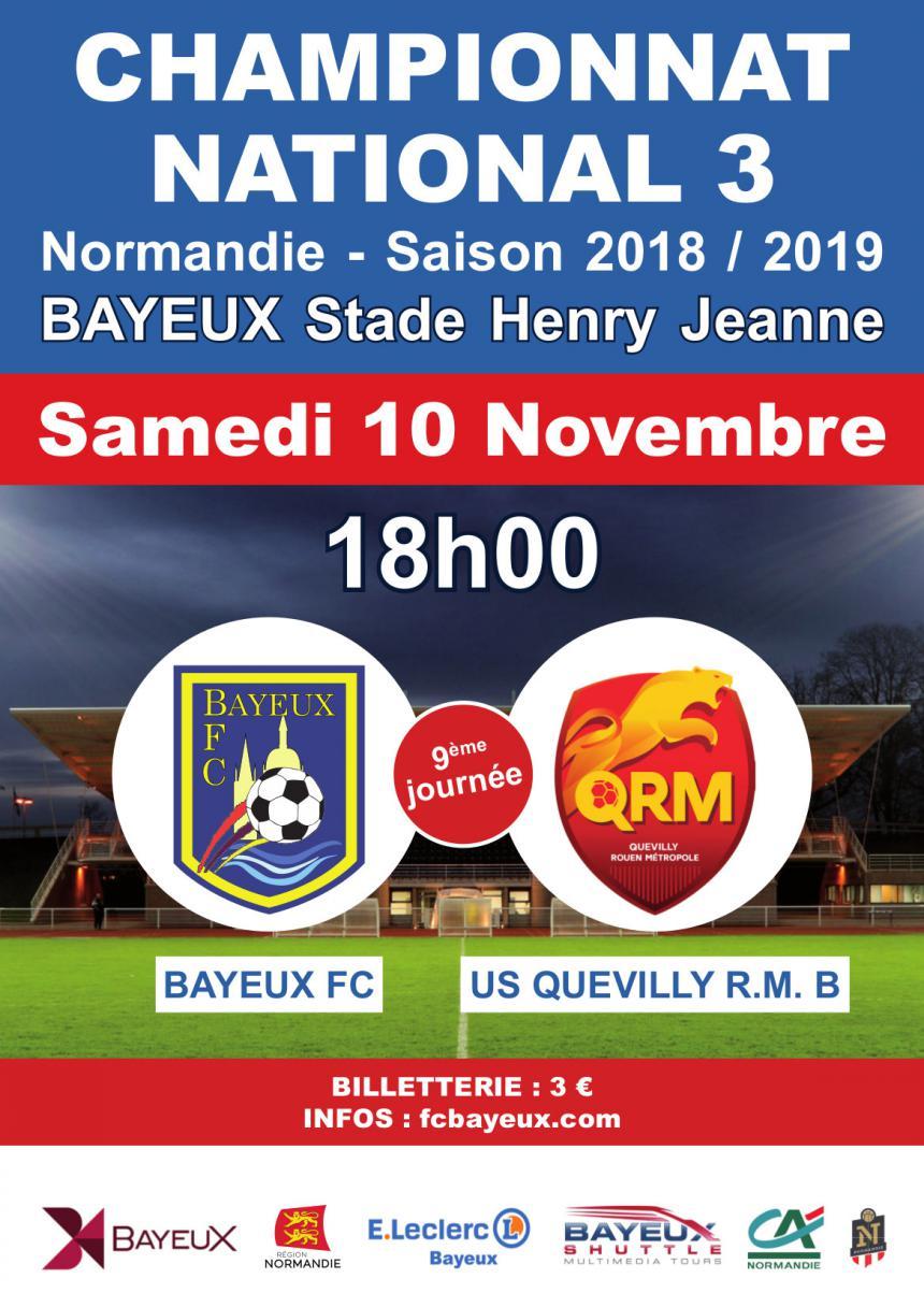 Affiche match de football Bayeux - Quevilly
