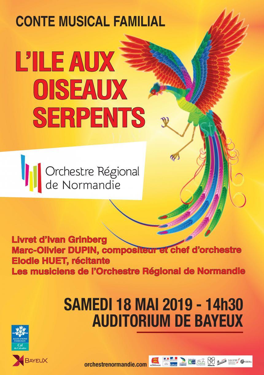 Affiche du spectacle musical l'île aux oiseaux serpents à Bayeux